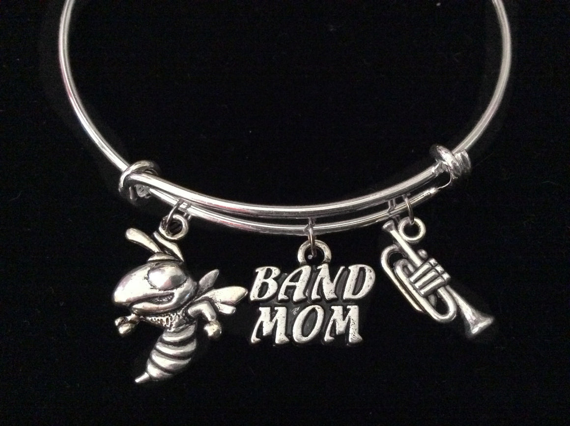 Band Mom Silver Expandable Charm Bracelet Adjustable Wire Bangle Gift Trendy Musician Music Trumpet