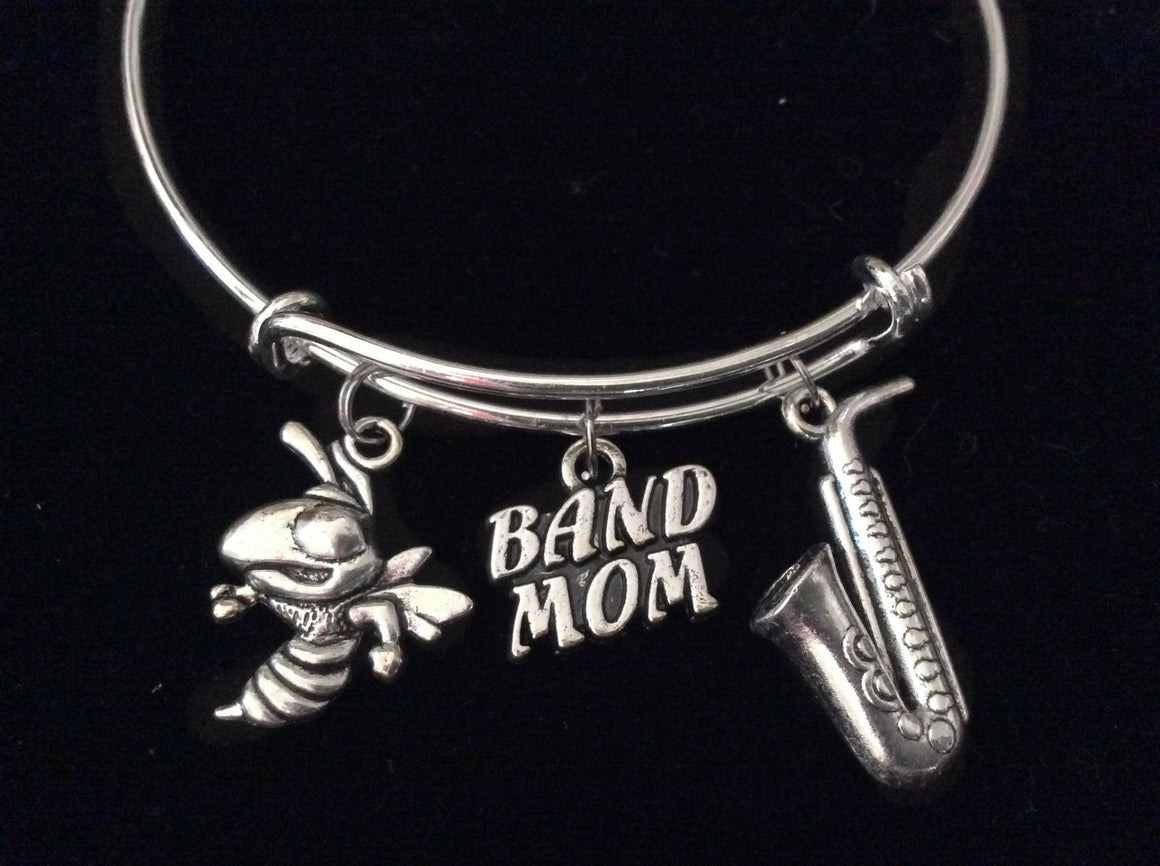 Band Mom Saxophone Silver Expandable Charm Bracelet Adjustable Wire Bangle Gift Trendy Musician Music Trumpet