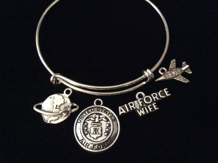 Air Force Wife Expandable Charm Bracelet Adjustable Bangle Gift USA Military Jewelry Plane Fighter Jet