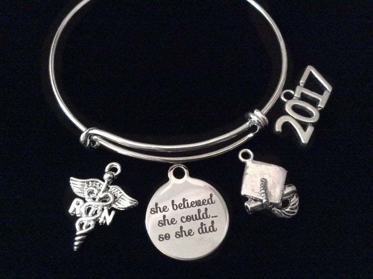 2107 Graduating RN Nurse She Believed She Could So She Did Silver Expandable Charm Bracelet Adjustable Bangle Gift