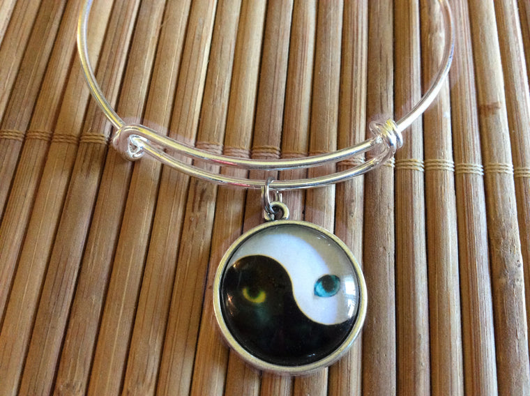 Yin Yang Cat Silver Expandable Charm Bracelet Adjustable Wire Bangle Trendy Meaningful