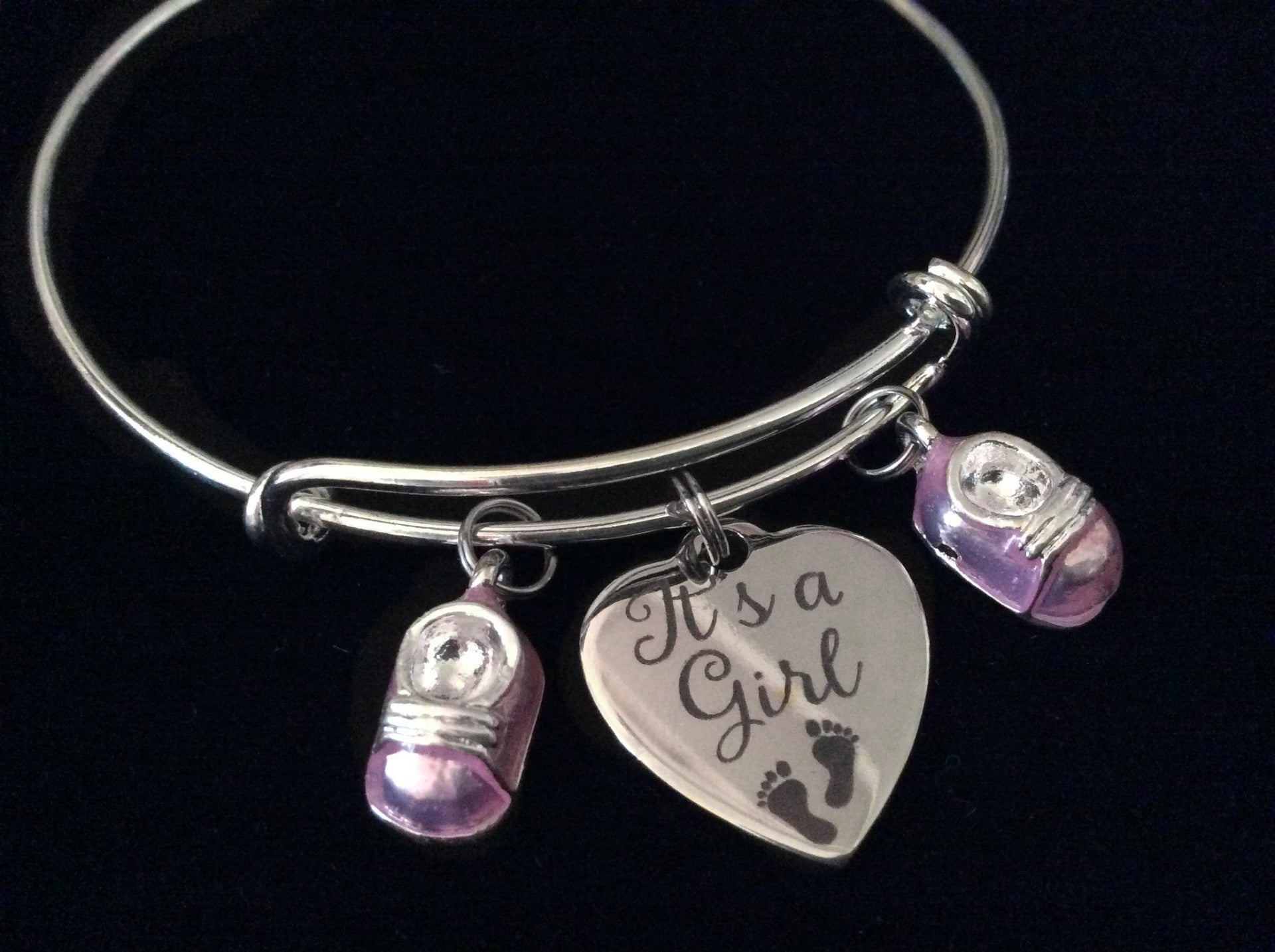 It s A Girl Pink Baby Booties Silver Expandable Charm Bracelet