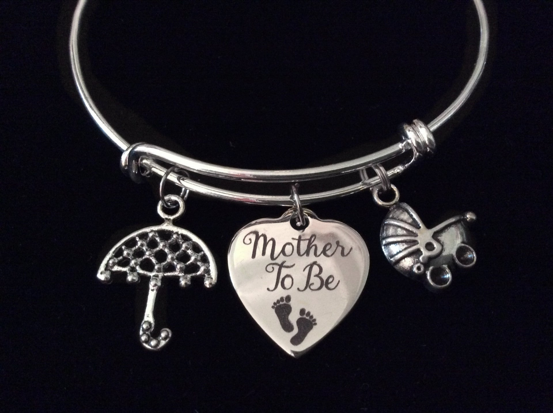 bangles bangle be silver products umbrella bracelet charm adjustable to mother expandable wire baby gift shower img mom new carriage