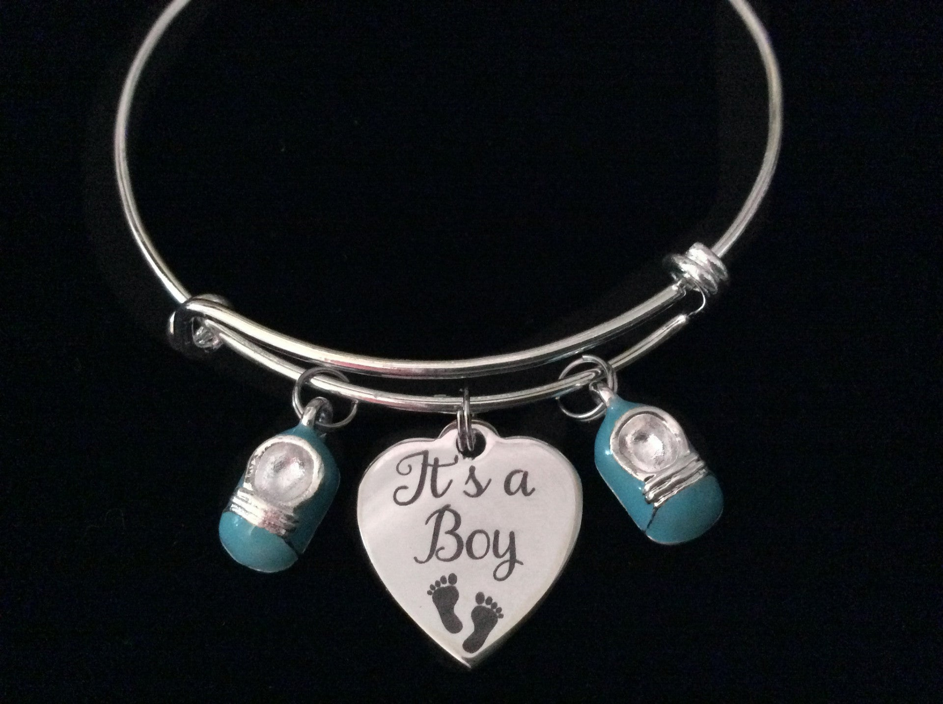 It s A Boy Blue Baby Booties Silver Expandable Charm Bracelet