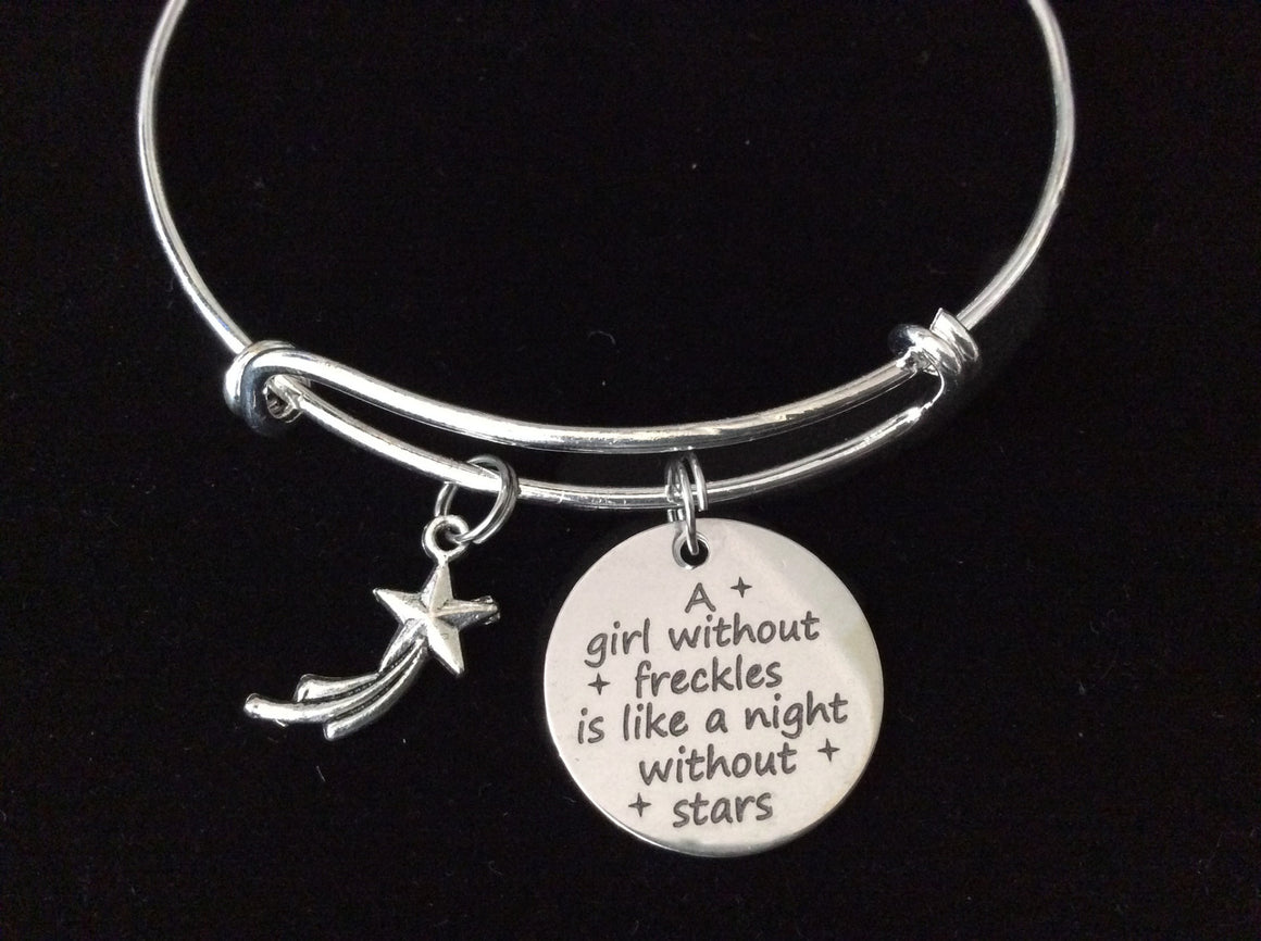 A Girl Without Freckles is Like a Night Without Stars Silver Expandable Charm Bracelet Adjustable Bangle Gift