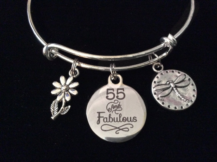 55 and Fabulous 55th Happy Birthday Silver Expandable Charm Bracelet Adjustable Bangle Gift