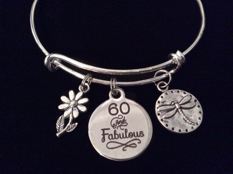 60 and Fabulous 60th Sixty Birthday Silver Expandable Charm Bracelet Adjustable Bangle Gift