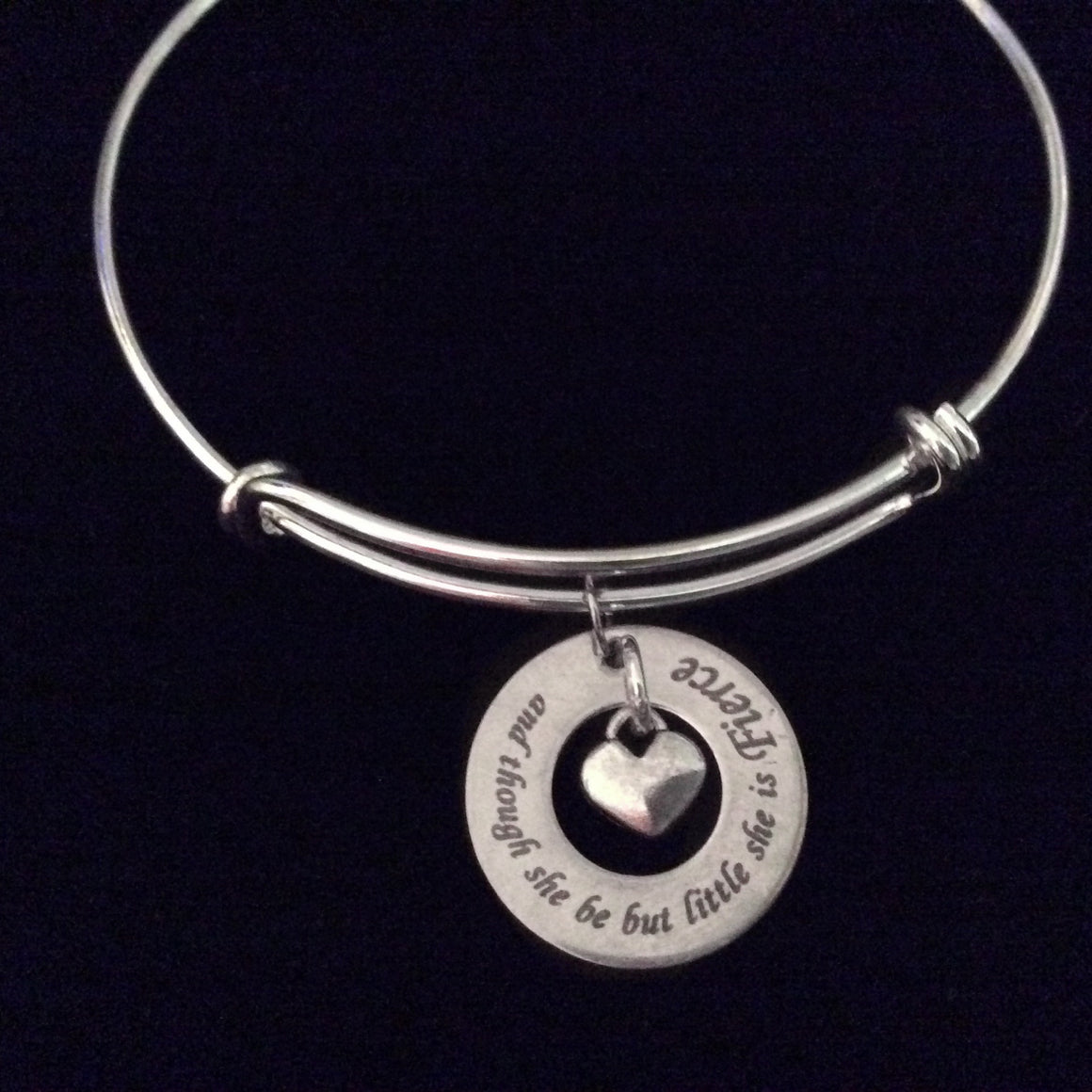And Though She be But Little She is Fierce Expandable Charm Bracelet Adjustable Silver Wire Bangle Trendy Meaningful Inspirational