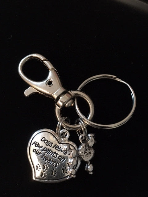 Poodle 3D Dog Charm on a Silver Key Chain Meaningful Dog Lover Gift