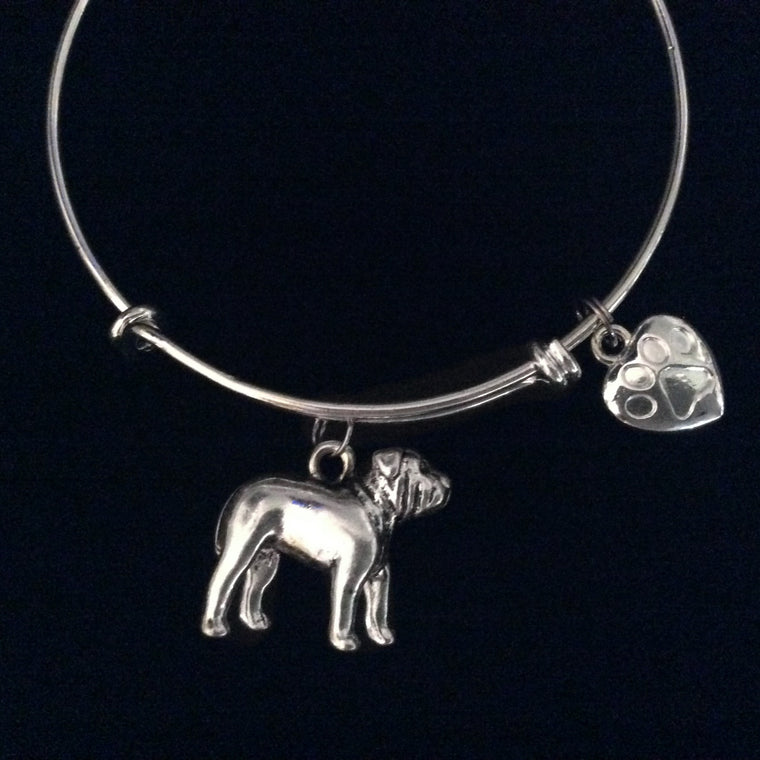 3D Bull Dog Silver Expandable Charm Bracelet Silver Adjustable Bangle Dog Lover Gift