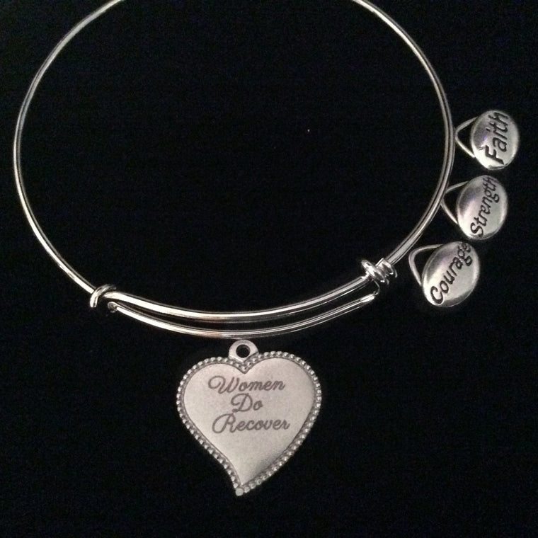 Women Do Recover Expandable Charm Bracelet Silver Adjustable Bangle Gift Faith Strength Courage
