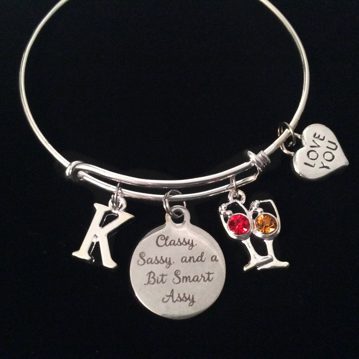 Wine Glasses Classy, Sassy, and a Bit Smart Assy Expandable Charm Bracelet Initial Adjustable Bangle Gift