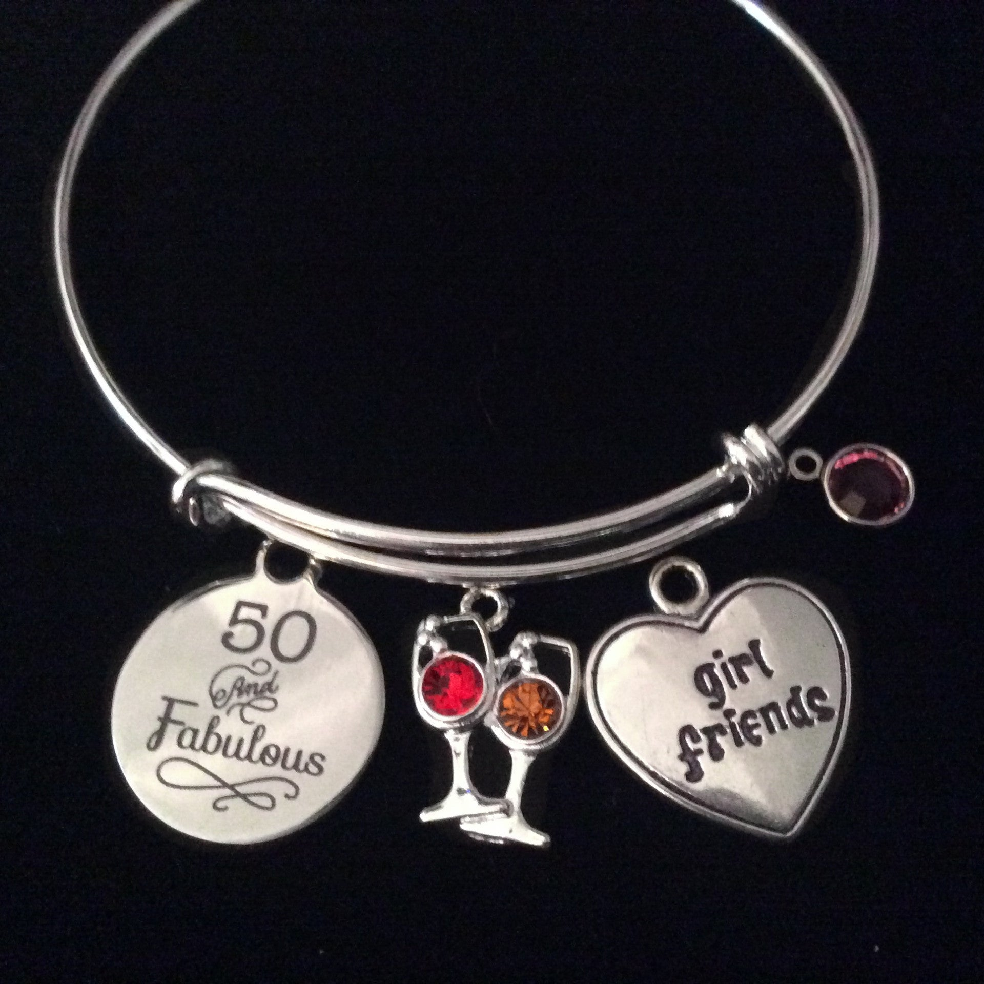 3761b8e99cd4b Fabulous and Fifty 50 Girlfriend Expandable Charm Bracelet Wine Glass  Silver Adjustable Wire Bangle Gift