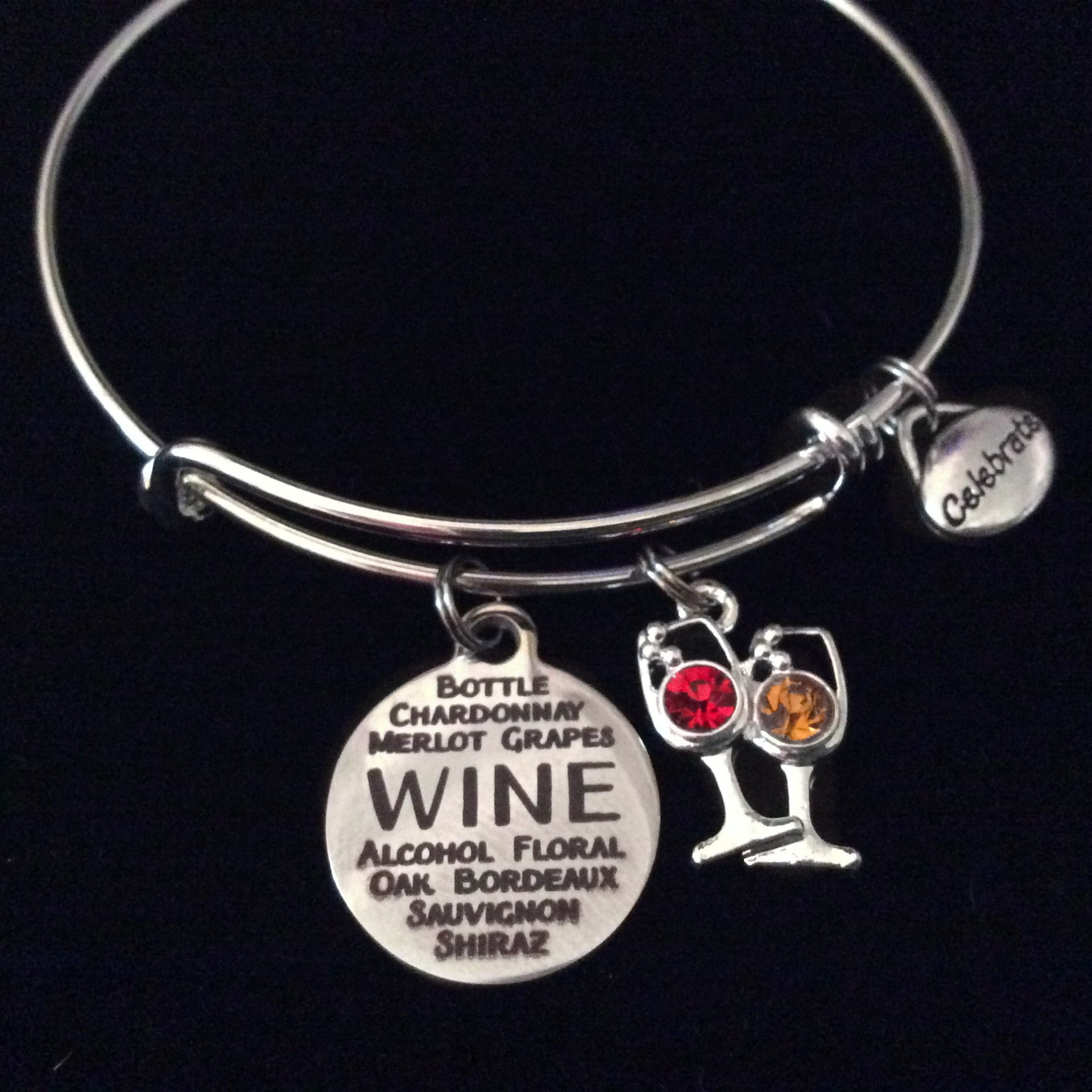 27272790ba4a7 White and Red Wine Glass Silver Expandable Charm Bracelet Adjustable Wire  Bangle Bracelet Wine Lovers Gift