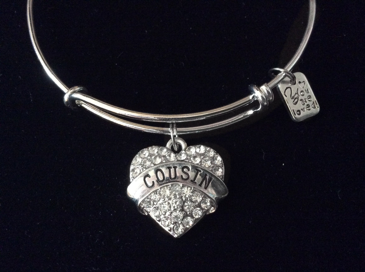 You are Loved Cousin Heart Silver Expandable Charm Bracelet Adjustable Bangle Gift