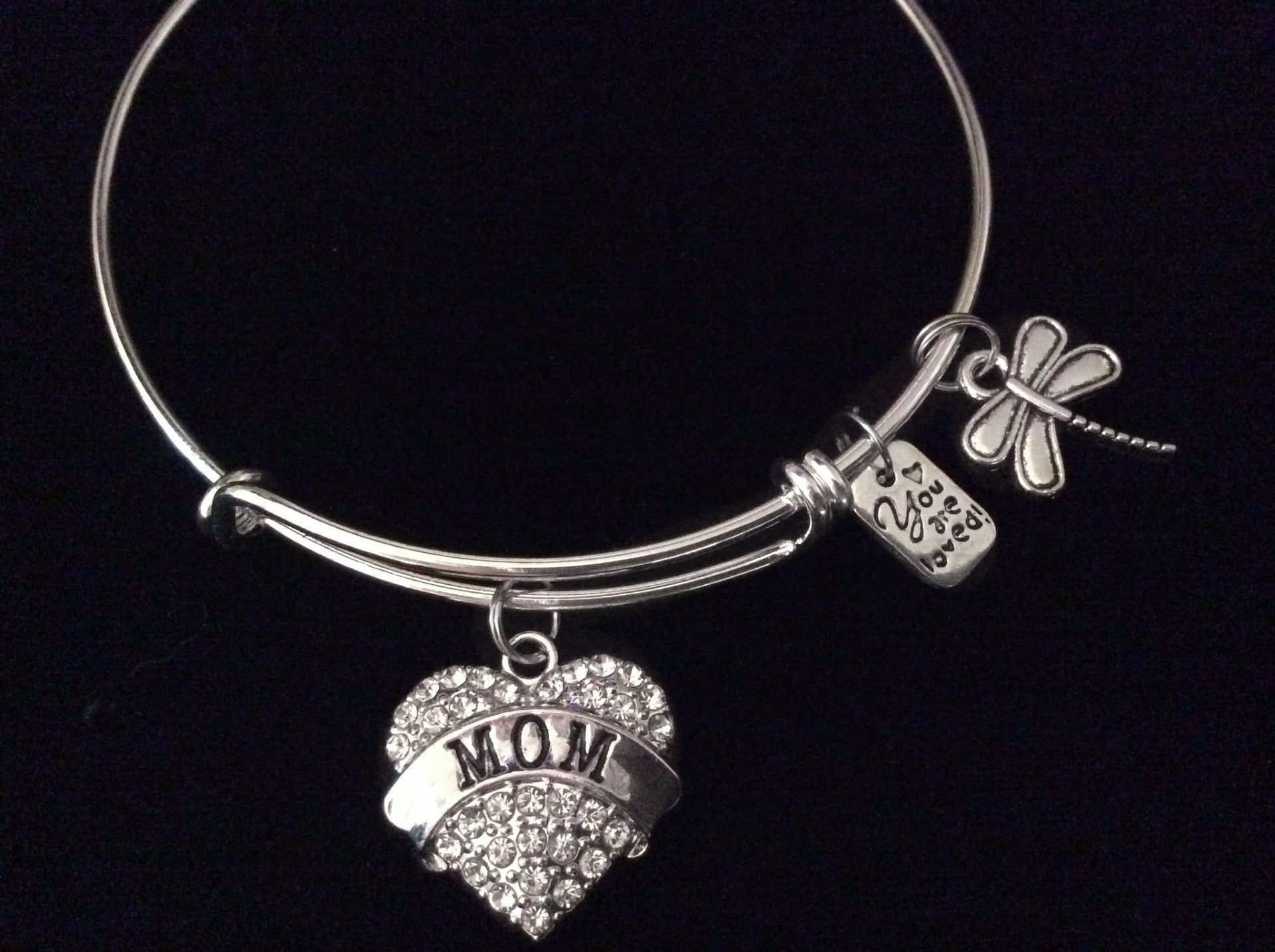 Mom You Are Loved Expandable Charm Bracelet Silver Adjustable