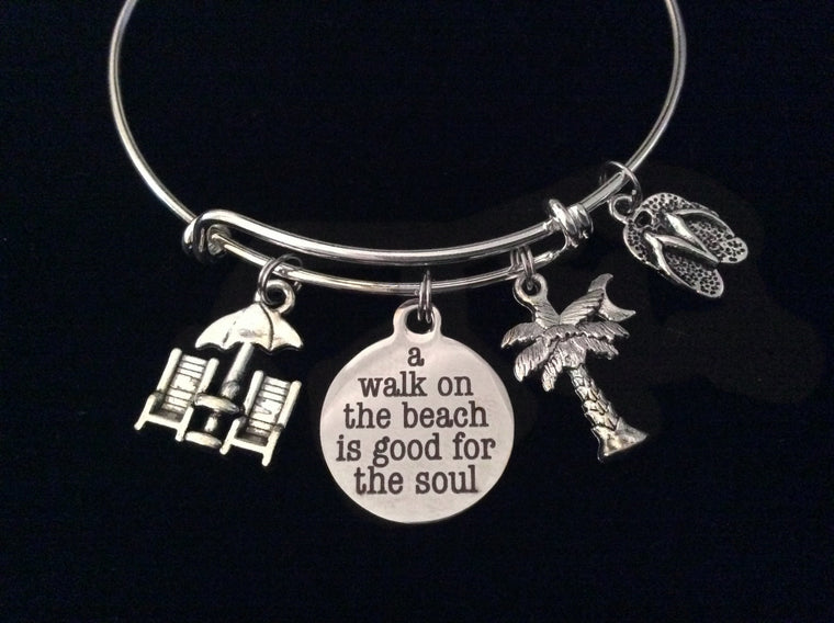A Walk on the Beach is Good for the Soul Expandable Charm Bracelet Ocean