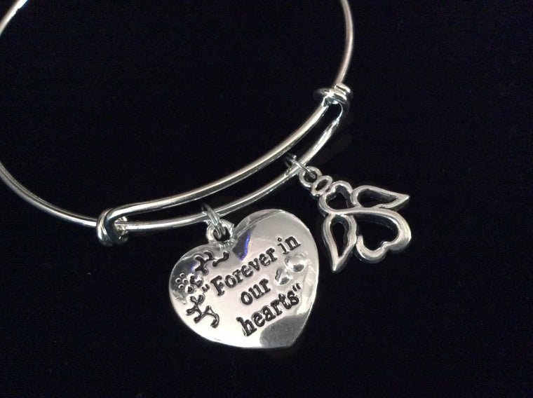 Angel Forever in our Hearts Expandable Charm Bracelet Adjustable Bangle Inspirational Meaningful Memorial Rememberance