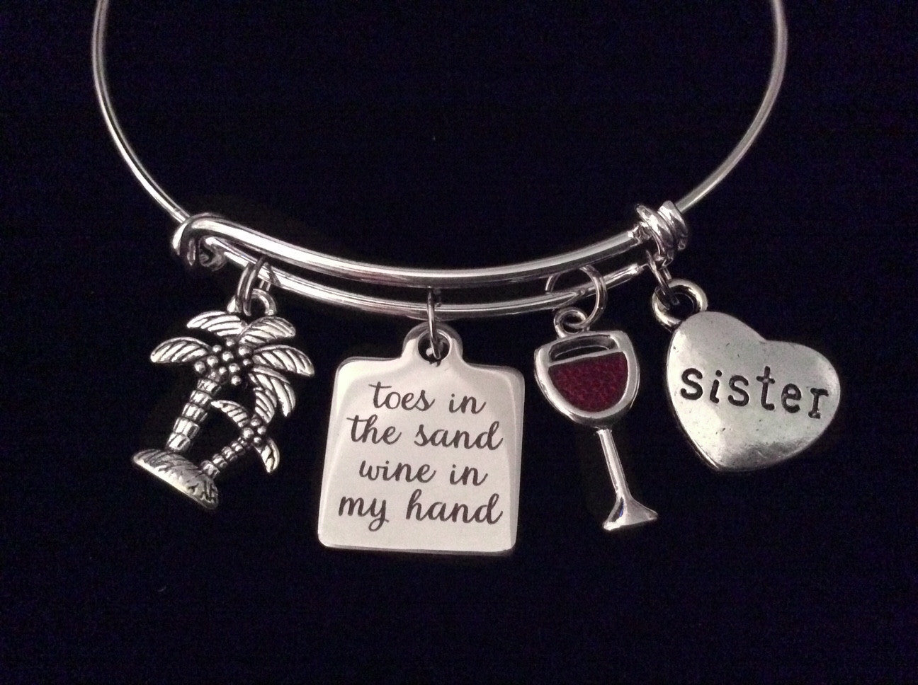 c3d98d2b4f72b Sister Toes in the Sand Wine in my Hand Expandable Silver Charm Bracelet  Ocean Nautical Adjustable Wire Bangle Gift
