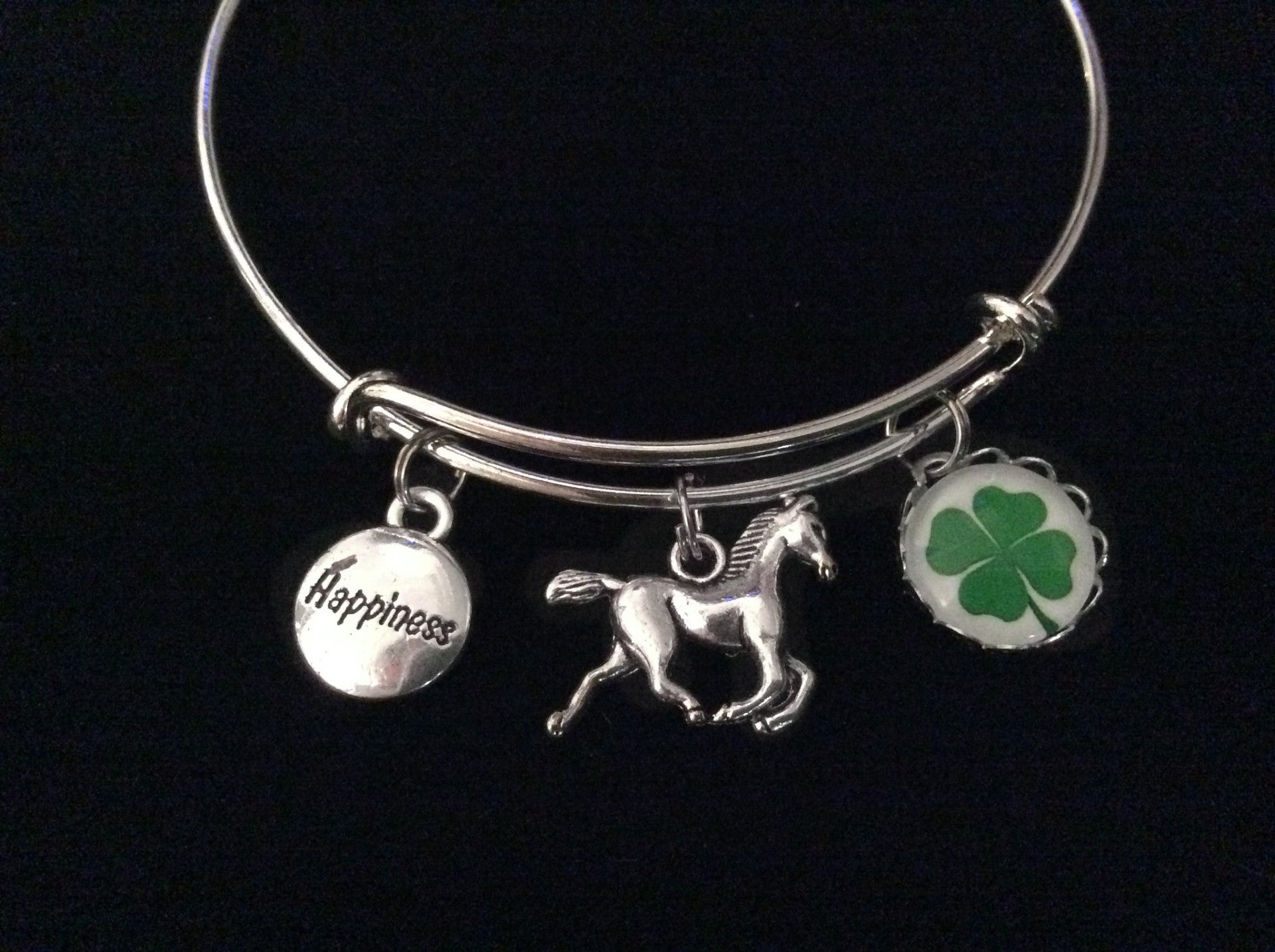 Happiness is Riding a Horse Expandable Charm Bracelet Adjustable