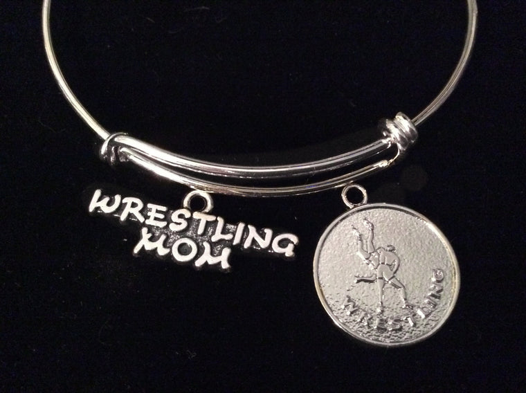 Wrestling Mom Expandable Adjustable Wire Bangle Bracelet Sports Jewelry Gift Silver Adjustable Bangle