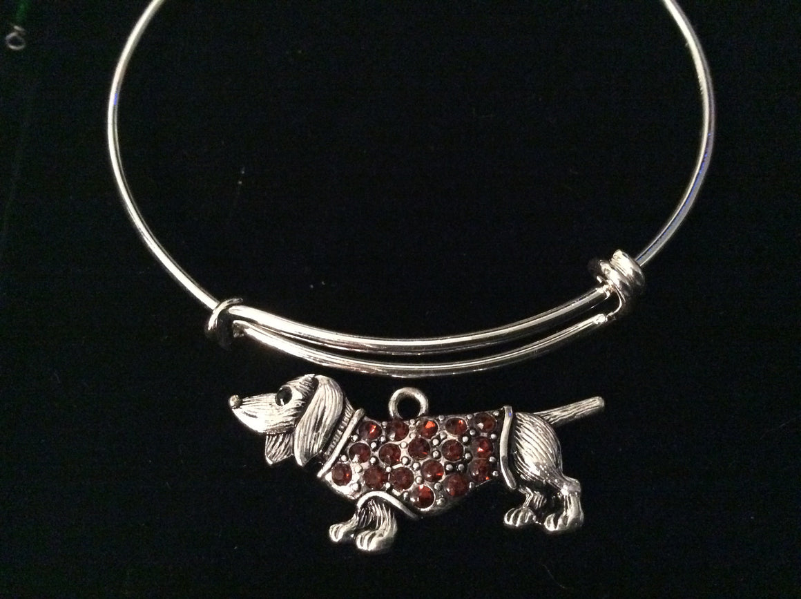 Crystal Dachshund Dog Charm Silver Expandable Bracelet Adjustable Bangle Lover Gift Trendy
