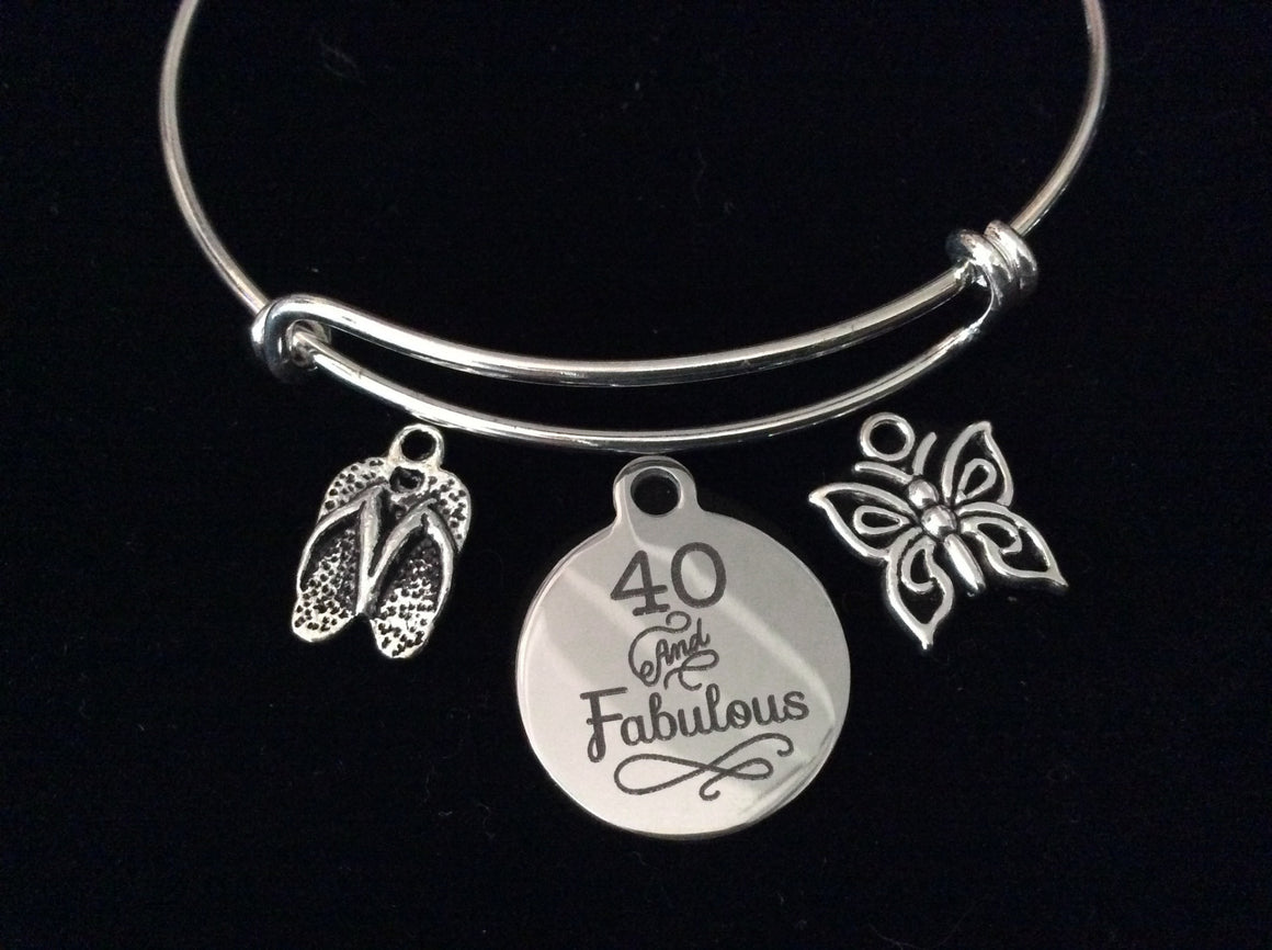 40 and Fabulous Happy 40th Birthday Expandable Charm Bracelet Adjustable Bangle Gift Butterfly Flip Flops