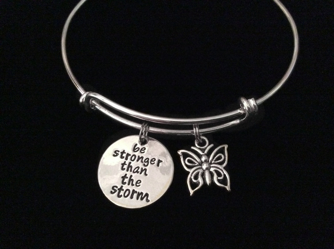 Be Stronger Than The Storm Expandable Charm Bracelet Adjustable Silver Wire Bangle Inspirational Meaningful Trendy