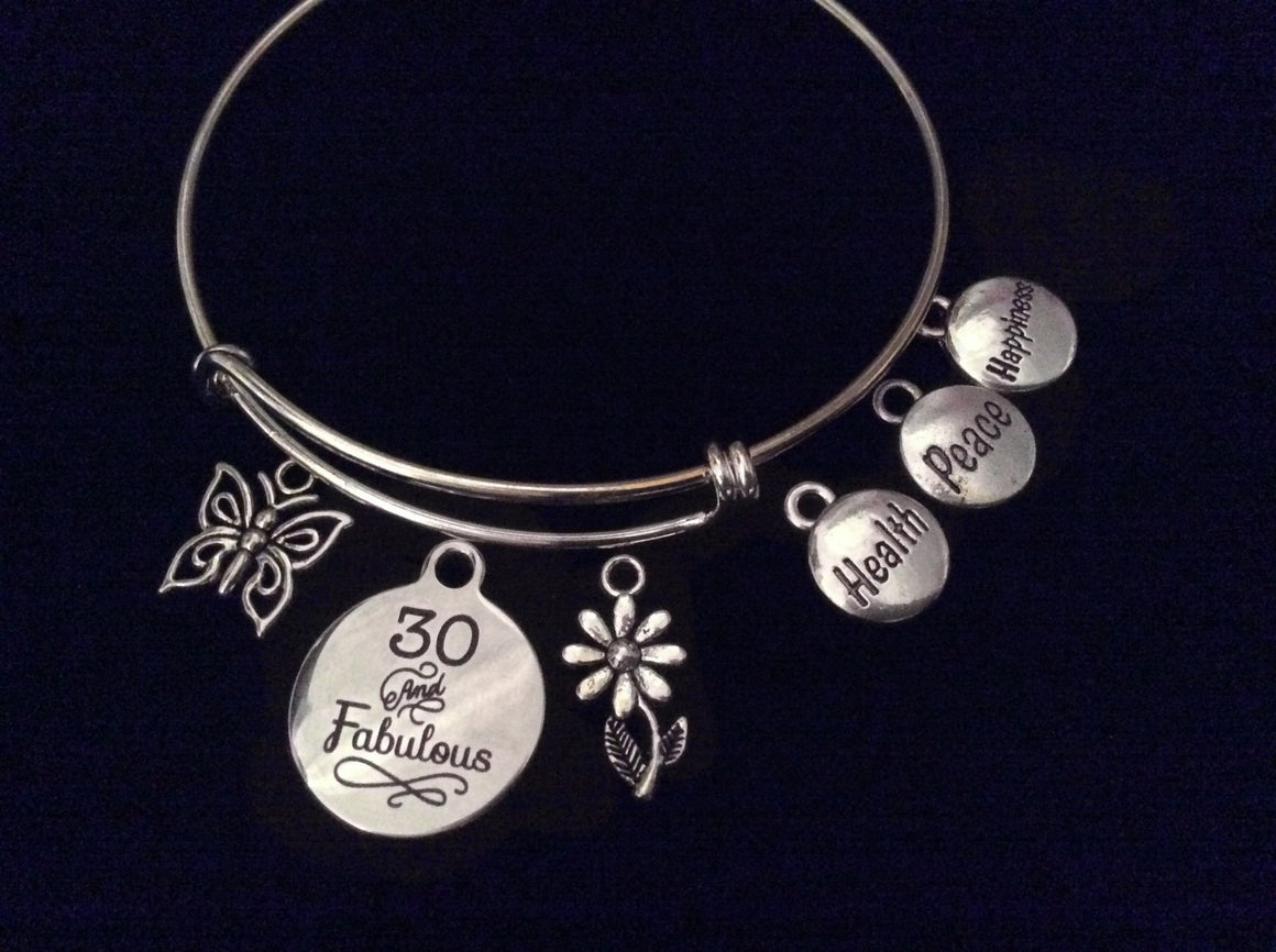 30 and Fabulous Health Peace Happiness Happy Birthday 30th Expandable Silver Charm Bracelet Adjustable Bangle Gift