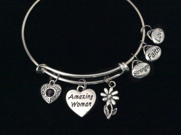 Amazing Woman Expandable Charm Bracelet Strength Faith Love Silver Adjustable Wire Bangle Trendy