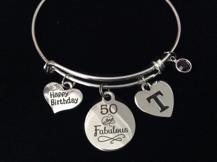50 and Fabulous Fifty Happy Birthday Expandable Charm Bracelet Silver Adjustable Wire Bangle Gift