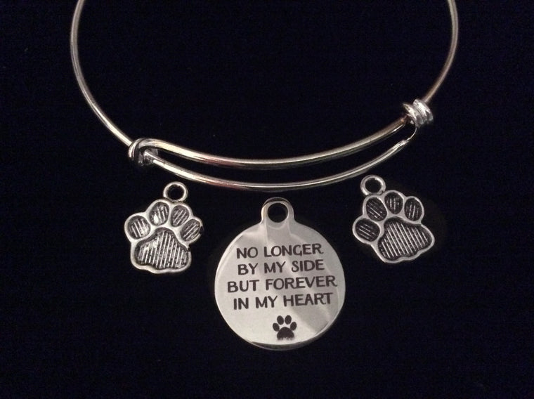Dog or Cat Memory Bracelet Forever in My Heart Expandable Silver Charm Bangle Adjustable Memorial