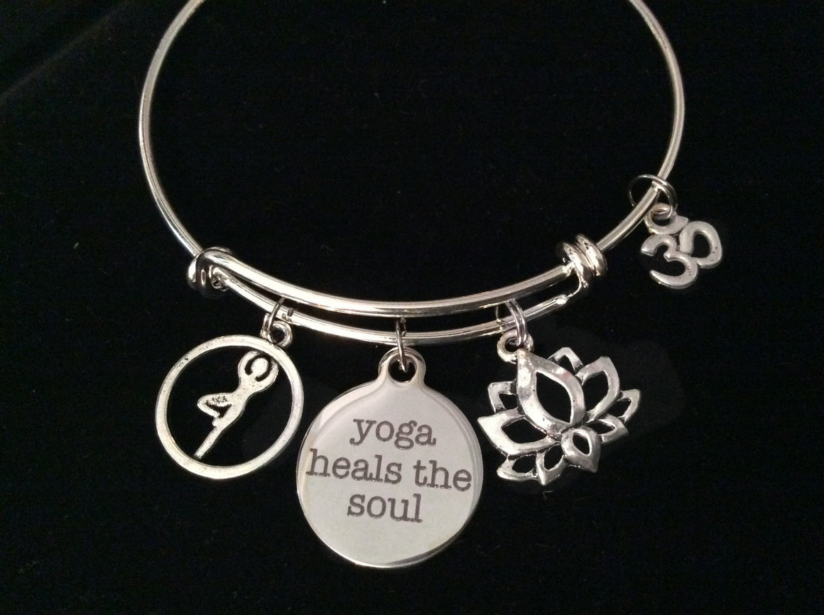 Yoga Heals the Soul Silver Expandable Charm Bracelet Om Tree Pose Adjustable Wire Bangle Gift
