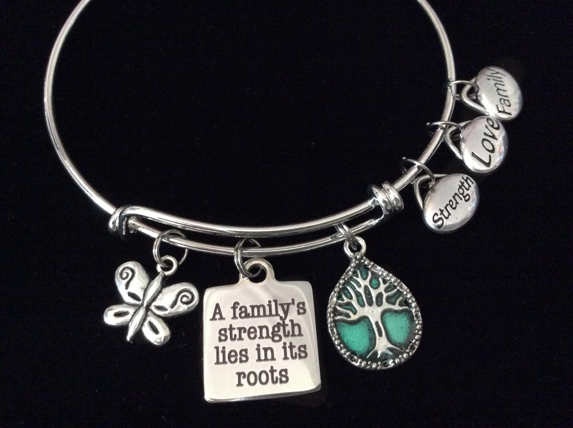 Strength Love Family Tree Expandable Charm Adjustable Silver Wire ...