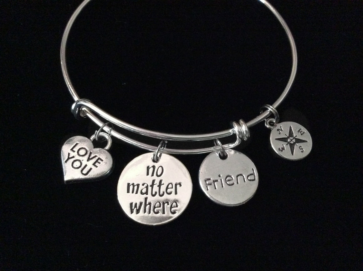 Love You Friend No Matter Where Compass Expandable Charm Bracelet Adjustable Silver Wire Bangle Gift