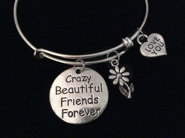 Crazy Beautiful Friends Forever Expandable Charm Bracelet Silver Adjustable Wire Bangle Stacking Bangle Trendy Love You BFF