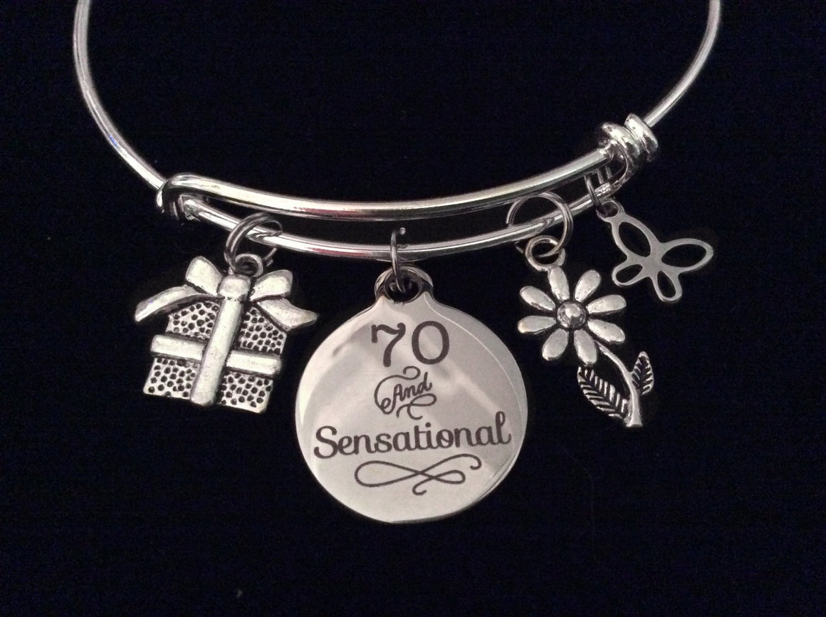 70 and Sensational 70th Seventy Birthday Expandable Charm Bracelet Silver Adjustable Bangle Gift