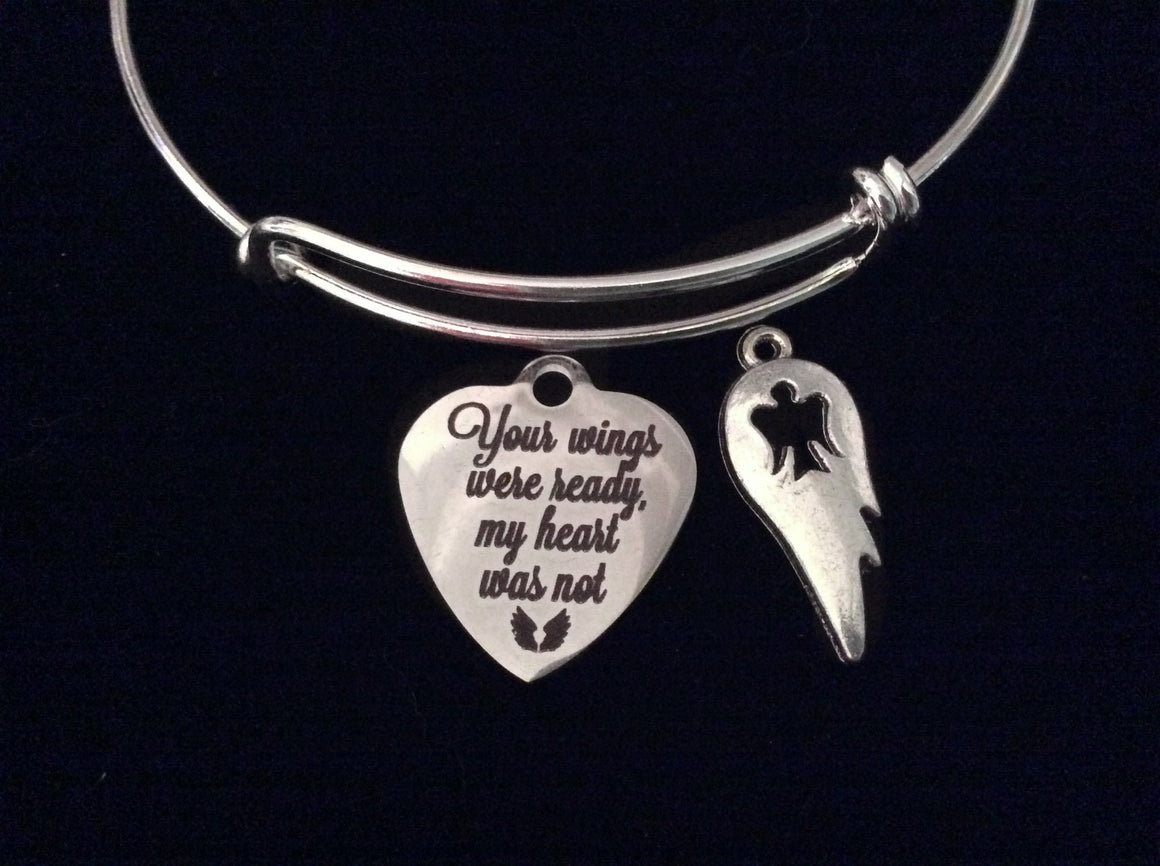 Angel Wings Memorial Expandable Charm Bracelet Silver Adjustable Wire Bangle Bangle Gift