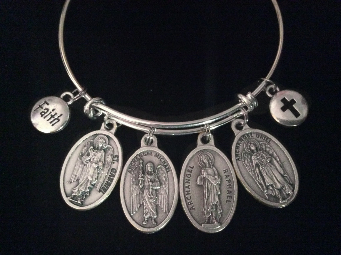 Archangel Gabriel Michael Raphael Uriel Expandable Charm Bracelet Inspirational Jewelry Adjustable SILver Bangle Angels Saints Catholic Cross