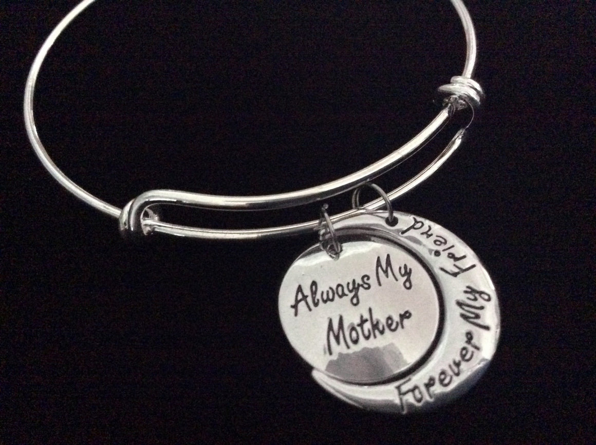 Always My Mother Forever My Friend Expandable Charm Bracelet Silver Adjustable Bangle Trendy Mom Gift