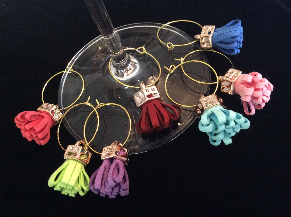 Gold and Colorful Faux Leather Tassel Wine Charms Wine Glass Markers Wine Lovers Hostess Gift
