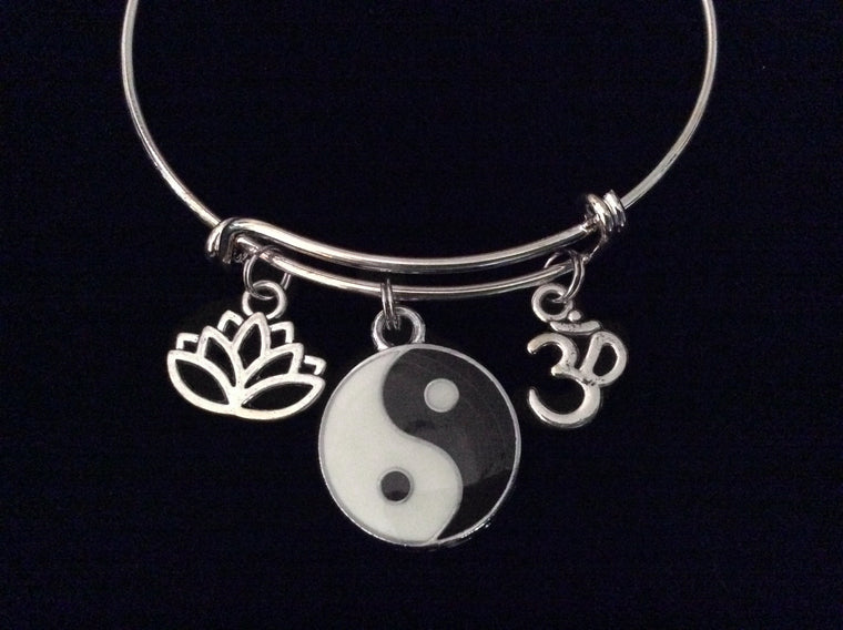 Yin Yang Lotus Om Expandable Charm Bracelet Adjustable Silver Wire Bangle Trendy Yoga Inspired Meaningful Inspirational