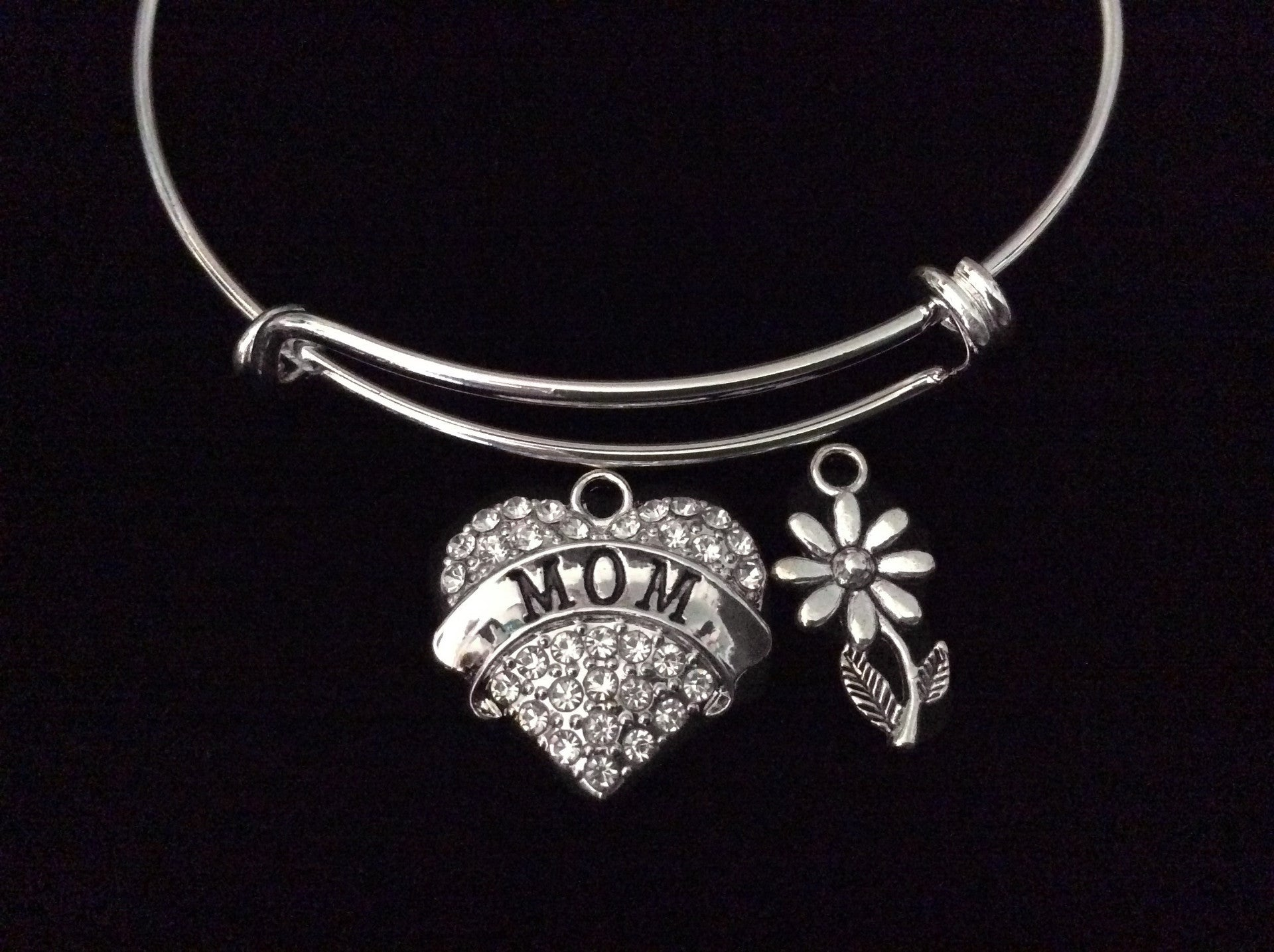 77ec198553f0c Mothers Day Special Daisy Expandable Charm Bracelet Silver Adjustable  Bangle Trendy Gift Mom