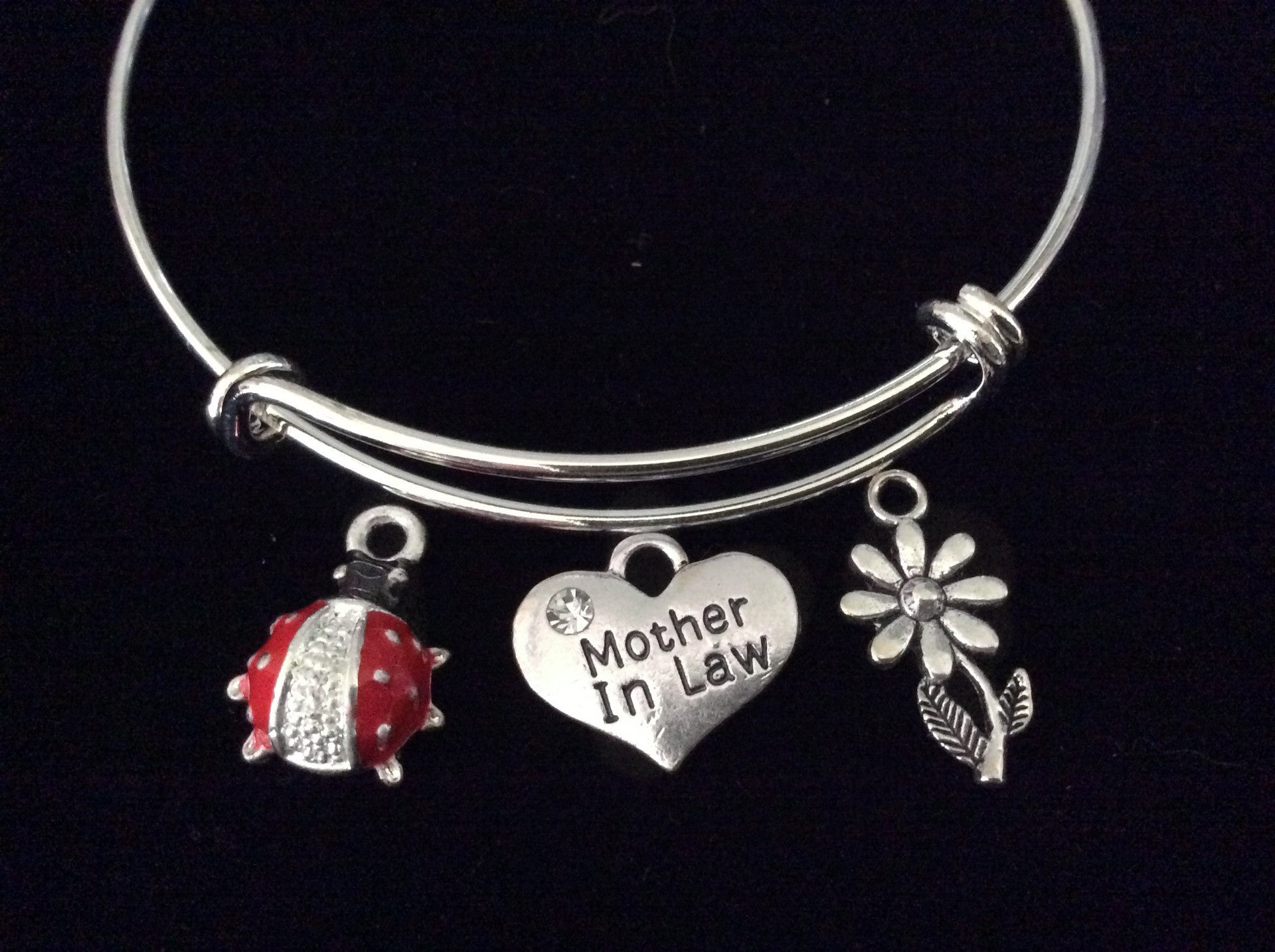 Mother In Law Red Ladybug Expandable Charm Bracelet Wedding Gift