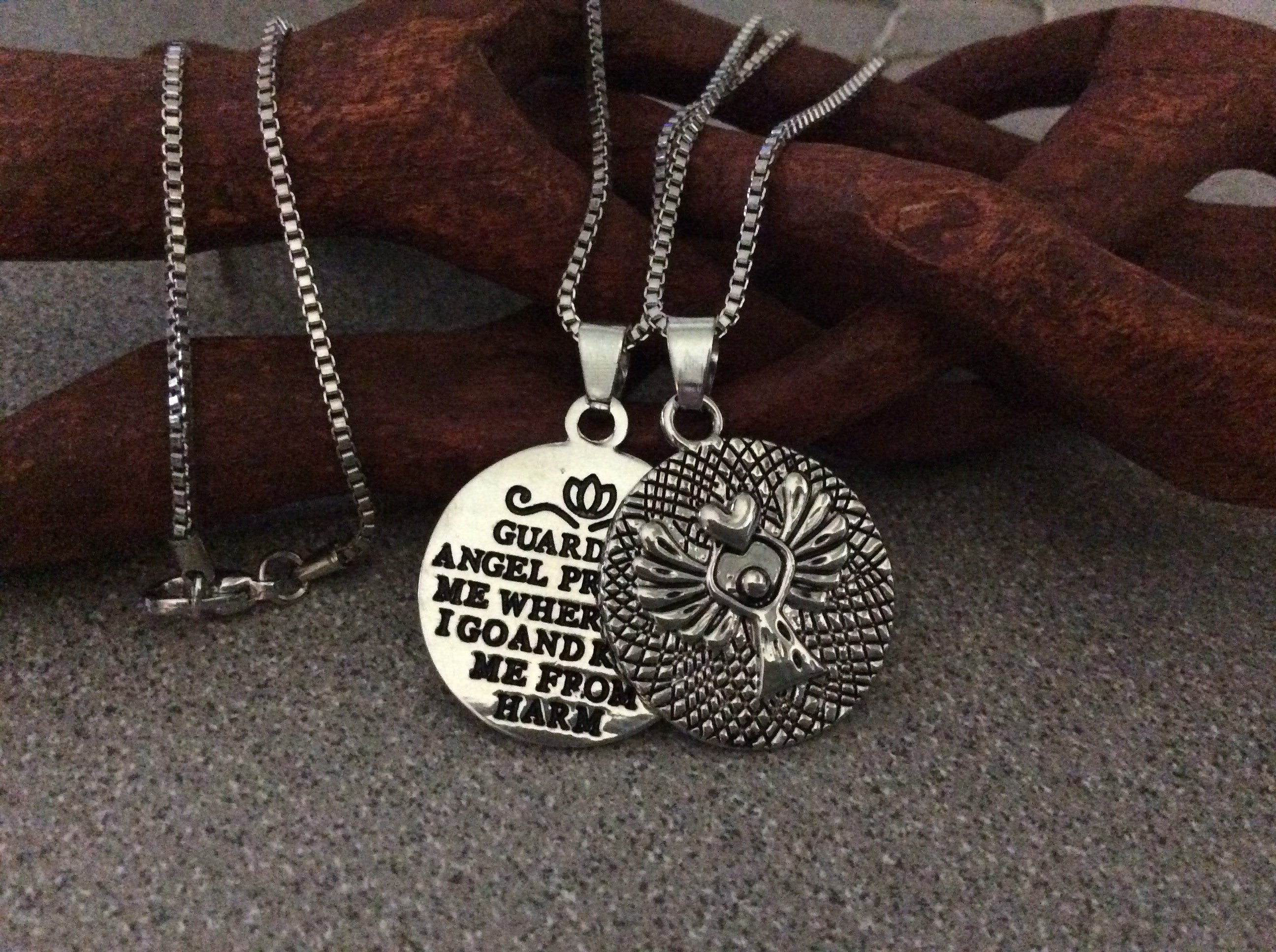 Guardian angel prayer silver stamped silver charm pendant necklace guardian angel prayer silver stamped silver charm pendant necklace trendy inspirational protection aloadofball Choice Image