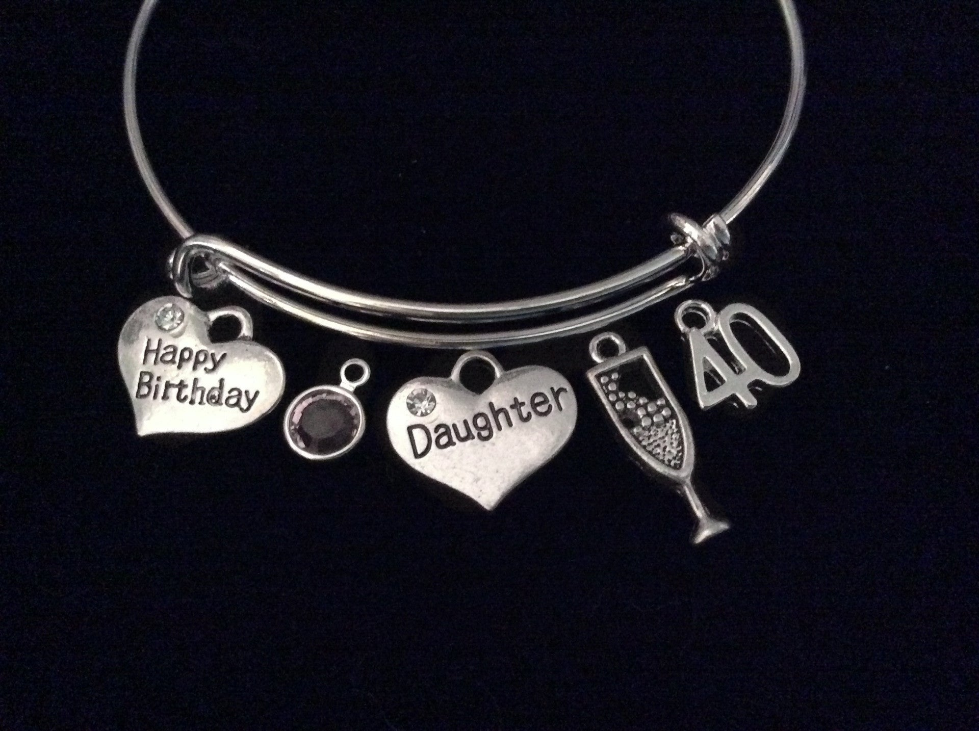 Daughter Happy 40th Birthday Expandable Charm Bracelet Adjustable Bangle Gift Champagne Glass Birthstone