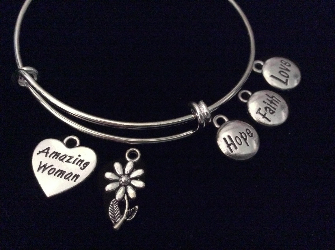 Amazing Woman Expandable Charm Bracelet Hope Faith Love Silver Adjustable Wire Bangle Trendy