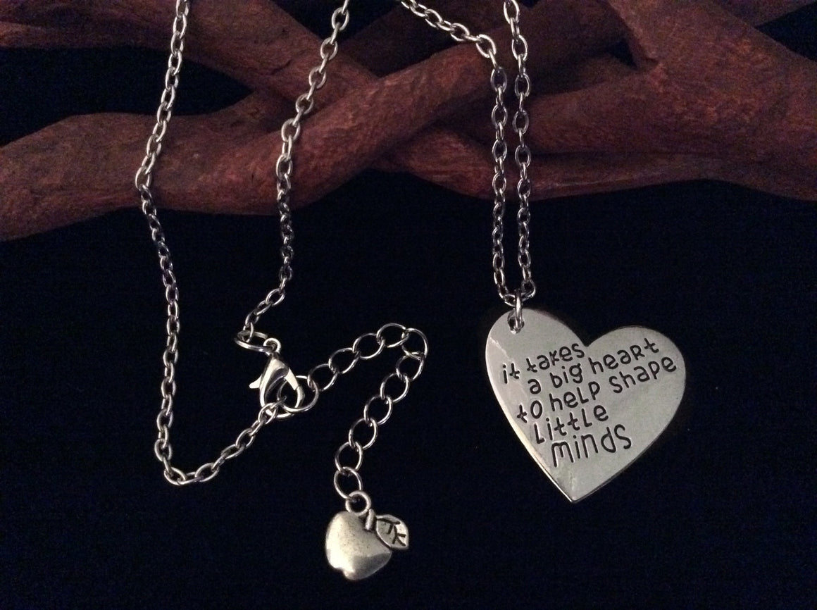 Necklace It Takes A Big Heart to Help Shape Little Minds Teacher Appreciation Gift Meaningful Retirement Tutor