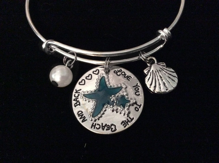 I Love You to the Beach and Back Expandable Charm Bracelet Silver Adjustable Wire Bangle Gift Nautical