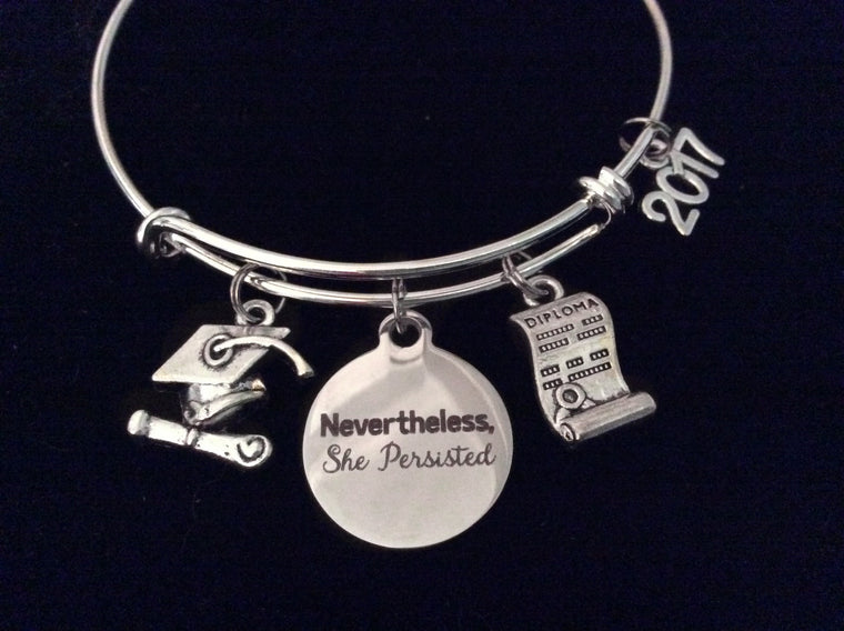 Diploma Graduation Nevertheless She Persisted 2017 Expandable Charm Bracelet Silver Adjustable Bangle Trendy Gift